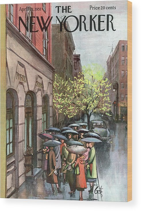Urban Wood Print featuring the painting New Yorker April 21st, 1951 by Arthur Getz