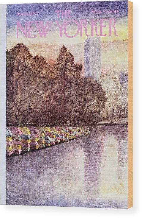 Illustration Wood Print featuring the painting New Yorker April 25th 1977 by Charles Martin