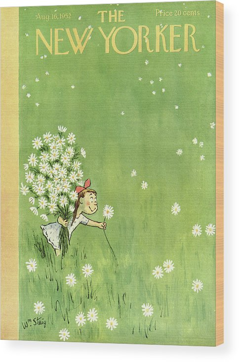 Nature Wood Print featuring the painting New Yorker August 16th, 1952 by William Steig