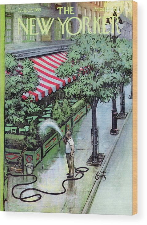 Restaurant Wood Print featuring the painting New Yorker August 27th, 1955 by Arthur Getz