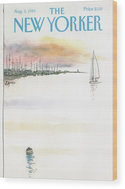 Nature Wood Print featuring the painting New Yorker August 5th, 1985 by Arthur Getz