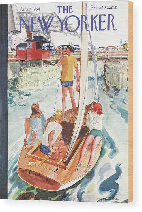 Sailing Wood Print featuring the painting New Yorker August 7th, 1954 by Garrett Price