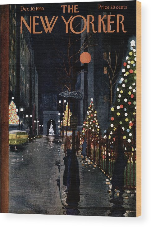 Urban Wood Print featuring the painting New Yorker December 10th, 1955 by Alain