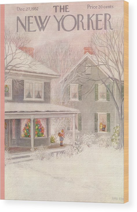 Suburb Wood Print featuring the painting New Yorker December 27th, 1952 by Edna Eicke