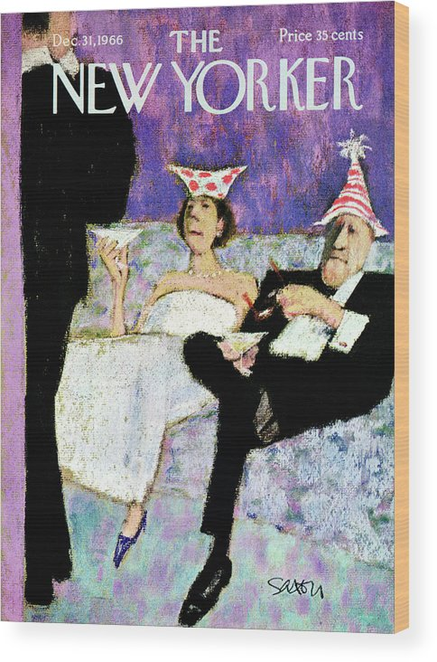 (a Formally Dressed Couple With New Year's Eve Hats On Wood Print featuring the painting New Yorker December 31st, 1966 by Charles Saxon
