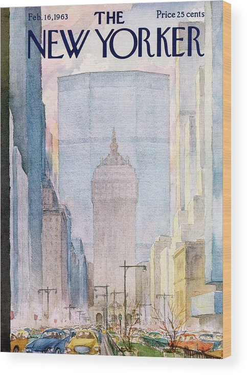 Traffic Wood Print featuring the painting New Yorker February 16th, 1963 by Alan Dunn