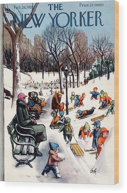 New York City Wood Print featuring the painting New Yorker February 26th, 1955 by Arthur Getz