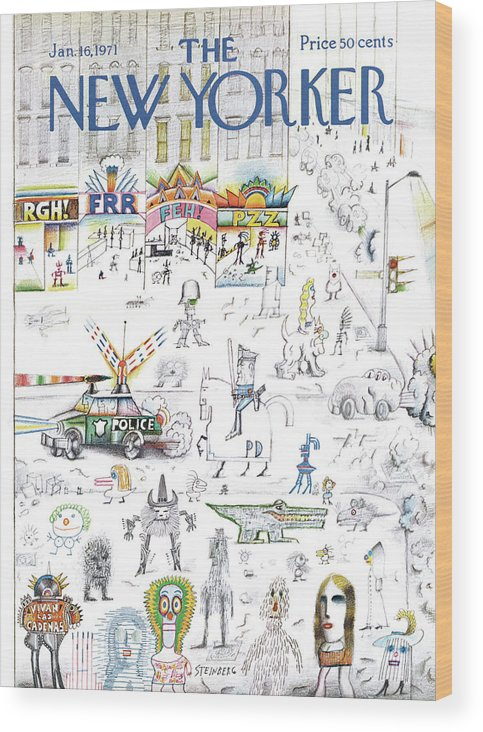 Saul Steinberg 50095 Steinbergattny Wood Print featuring the painting New Yorker January 16th, 1971 by Saul Steinberg