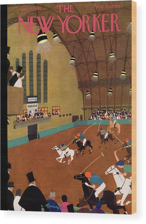 Polo Wood Print featuring the painting New Yorker January 20th, 1934 by Adolph K Kronengold