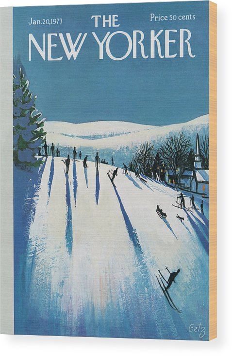 Snow Wood Print featuring the painting New Yorker January 20th, 1973 by Arthur Getz