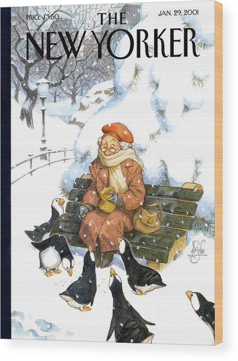 Snowbirds Wood Print featuring the painting Snowbirds by Peter de Seve
