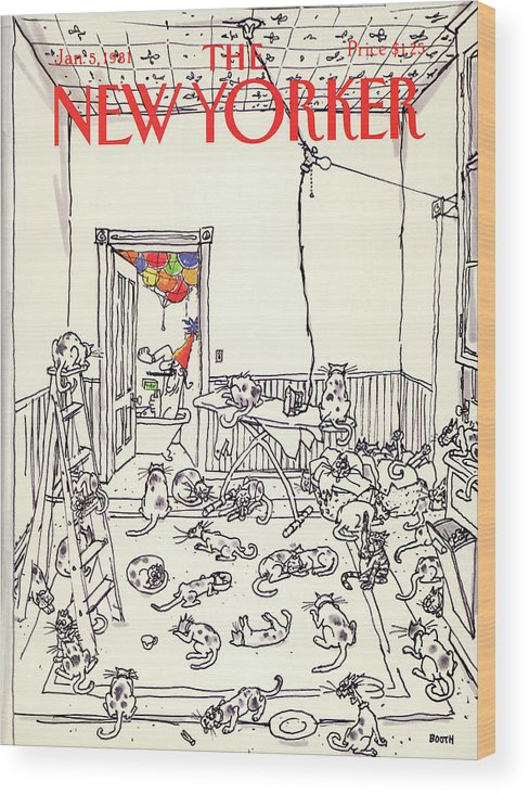Holiday Wood Print featuring the painting New Yorker January 5th, 1981 by George Booth