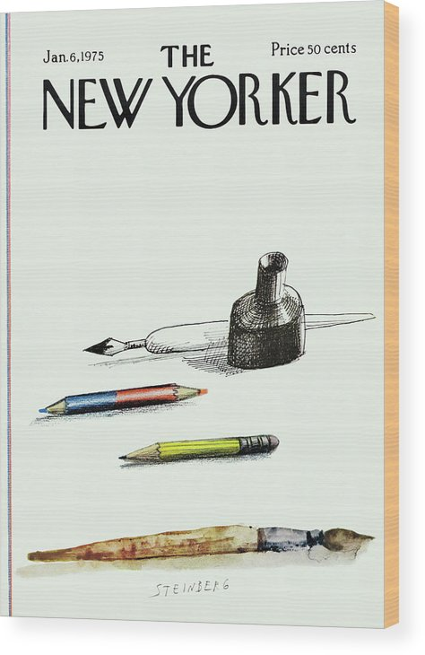 Saul Steinberg 50268 Steinbergattny Wood Print featuring the painting New Yorker January 6th, 1975 by Saul Steinberg