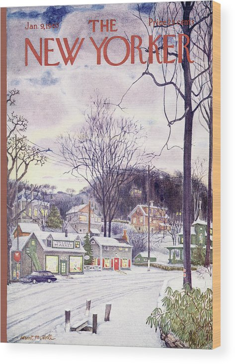 Suburban Wood Print featuring the painting New Yorker January 9th, 1965 by Albert Hubbell