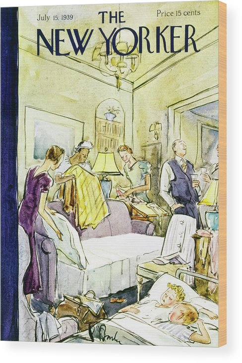 Indoors Wood Print featuring the painting New Yorker July 15 1939 by Perry Barlow