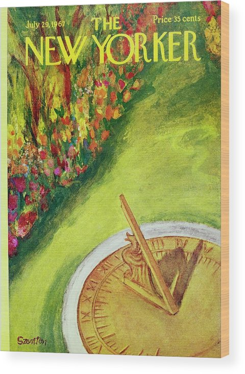 Illustration Wood Print featuring the painting New Yorker July 29th 1967 by Beatrice Szanton