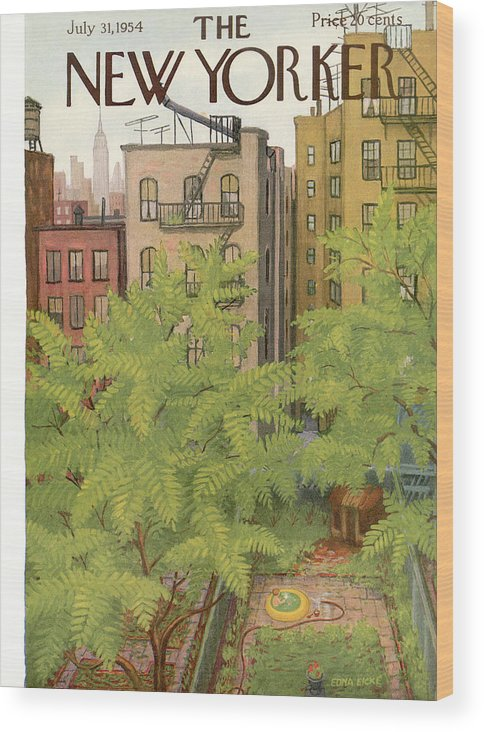 Urban Wood Print featuring the painting New Yorker July 31st, 1954 by Edna Eicke