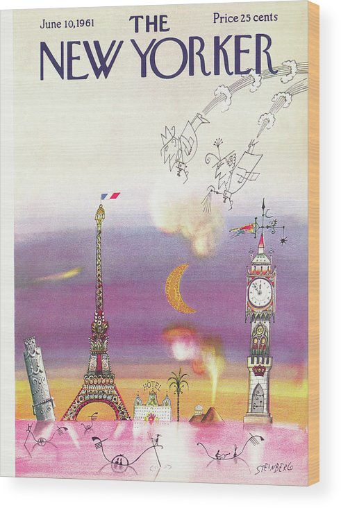 Saul Steinberg 49663 Steinbergattny Wood Print featuring the painting New Yorker June 10th, 1961 by Saul Steinberg