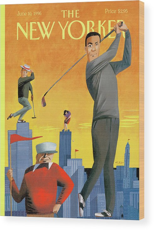 Tee Time Wood Print featuring the painting New Yorker June 10th, 1996 by Mark Ulriksen