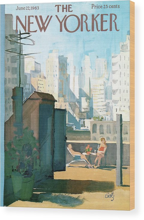 Wood Print featuring the painting New Yorker June 22nd, 1963 by Arthur Getz