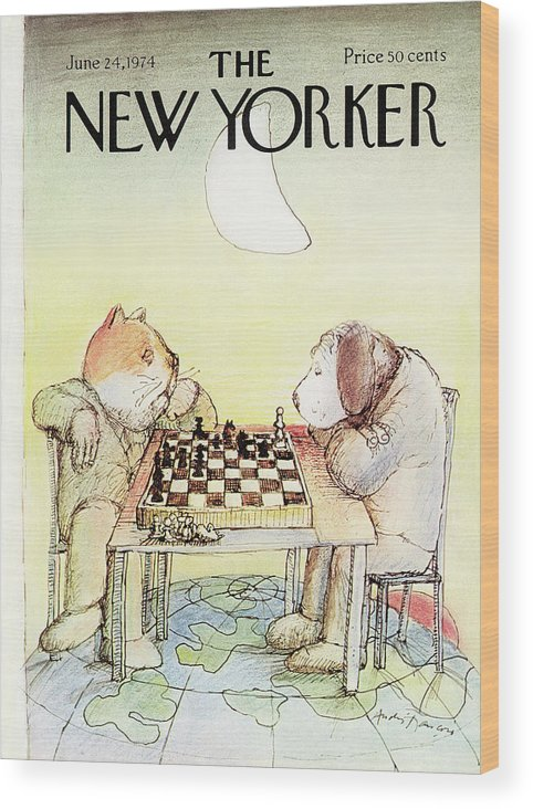 Cat Wood Print featuring the painting New Yorker June 24th, 1974 by Andre Francois