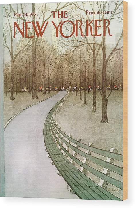 Park Wood Print featuring the painting New Yorker March 24th, 1975 by Charles E Martin