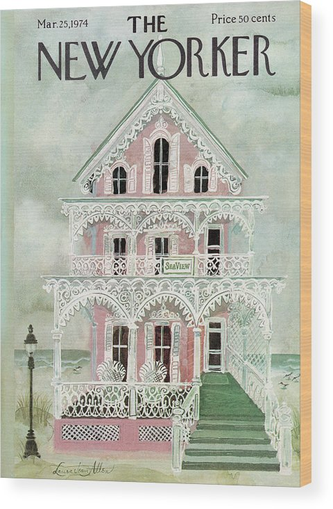 Spring Wood Print featuring the painting New Yorker March 25th, 1974 by Laura Jean Allen