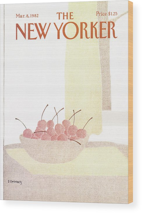 Food Wood Print featuring the painting New Yorker March 8th, 1982 by Devera Ehrenberg