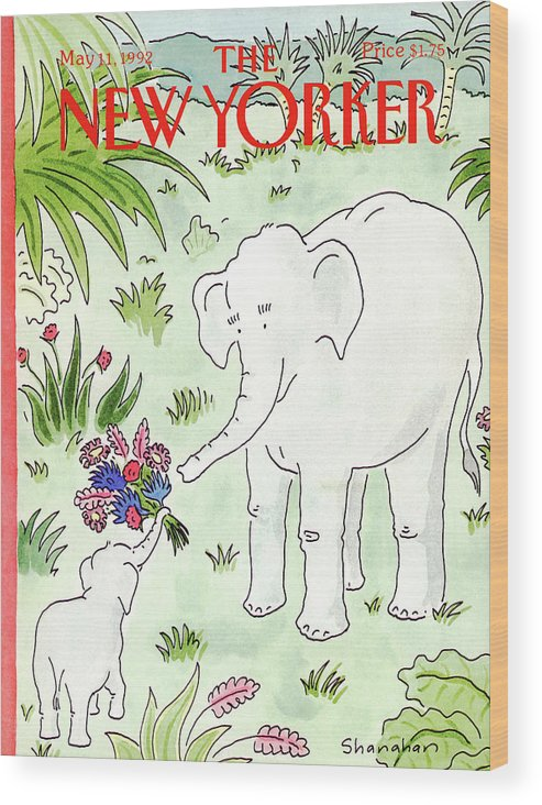 A Young Elephant Holds Out His Trunk Wood Print featuring the painting New Yorker May 11th, 1992 by Danny Shanahan