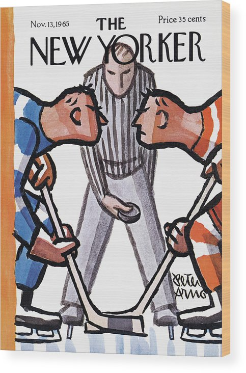 Sports Wood Print featuring the painting New Yorker November 13th, 1965 by Peter Arno
