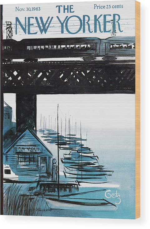 Sea Wood Print featuring the painting New Yorker November 30th, 1963 by Arthur Getz