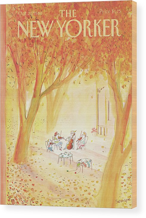 String Quartet Wood Print featuring the painting New Yorker October 20th, 1980 by Jean-Jacques Sempe