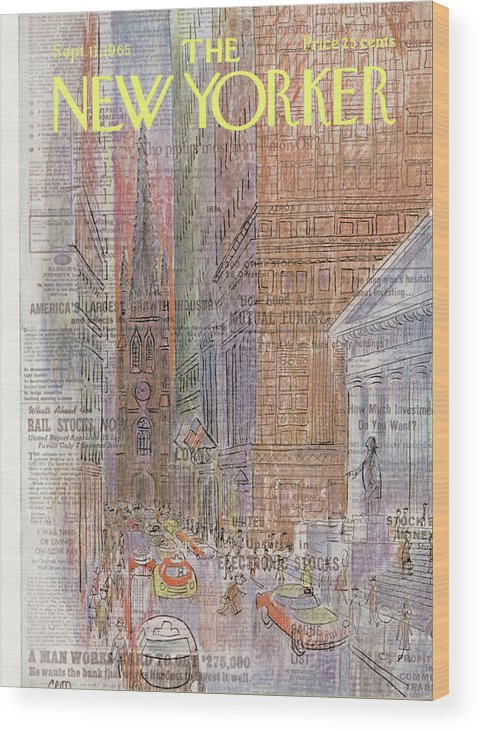 Urban Wood Print featuring the painting New Yorker September 11th, 1965 by Charles E Martin