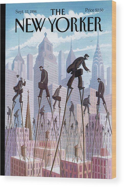 Life At The Top Wood Print featuring the painting New Yorker September 12th, 1994 by Eric Drooker