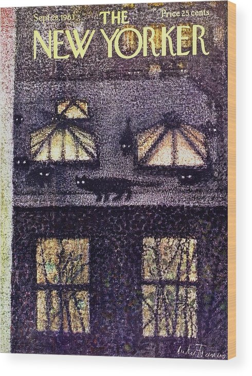 Illustration Wood Print featuring the painting New Yorker September 28th 1963 by Andre Francois