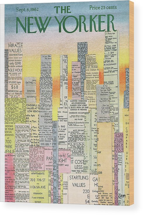 Real Estate Wood Print featuring the painting New Yorker September 8th, 1962 by Charles E Martin