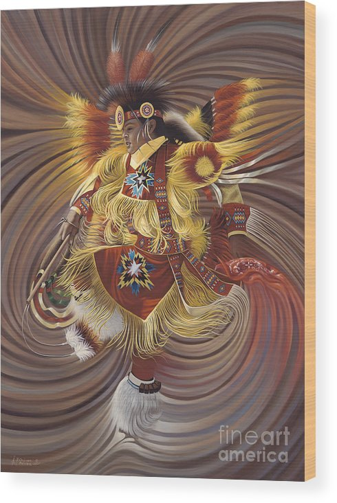 Sacred Wood Print featuring the painting On Sacred Ground Series 4 by Ricardo Chavez-Mendez