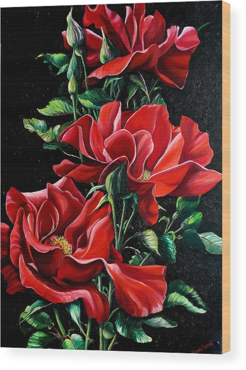 Rose Paintings Red Floral Paintings Flower Paintings  Botanical Paintings Red Rose Paintings Greeting Card Paintings Canvas Print Paintings  Wood Print featuring the painting Passionately Red by Karin Dawn Kelshall- Best