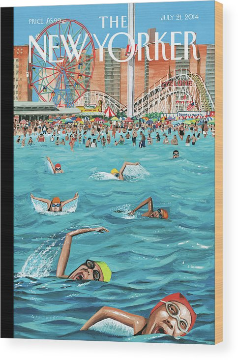 Beach Wood Print featuring the painting Coney Island by Mark Ulriksen