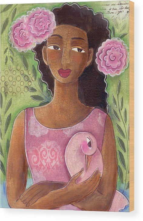 African American Wood Print featuring the painting Pink Bird by Elaine Jackson