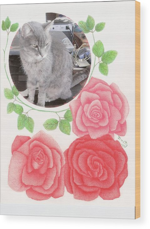 Rose Wood Print featuring the drawing Ponder with Roses by Dusty Reed