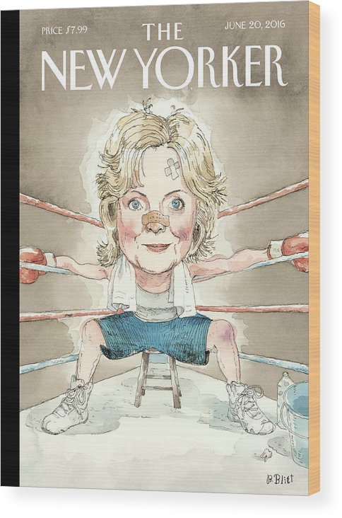 Hillary Clinton Wood Print featuring the painting Ready For A Fight by Barry Blitt