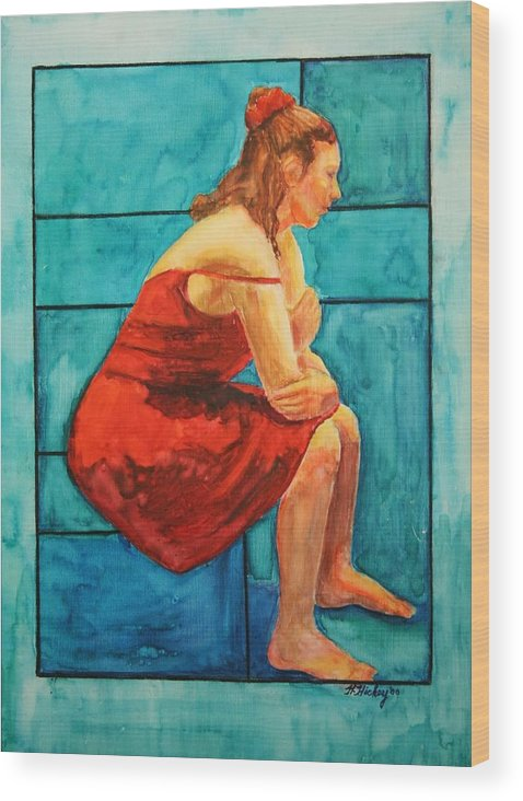 Wood Print featuring the painting Red and Blue by Helen Hickey