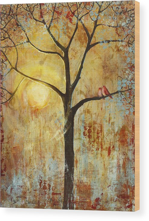 Love Birds Wood Print featuring the painting Red Love Birds in a Tree by Blenda Studio