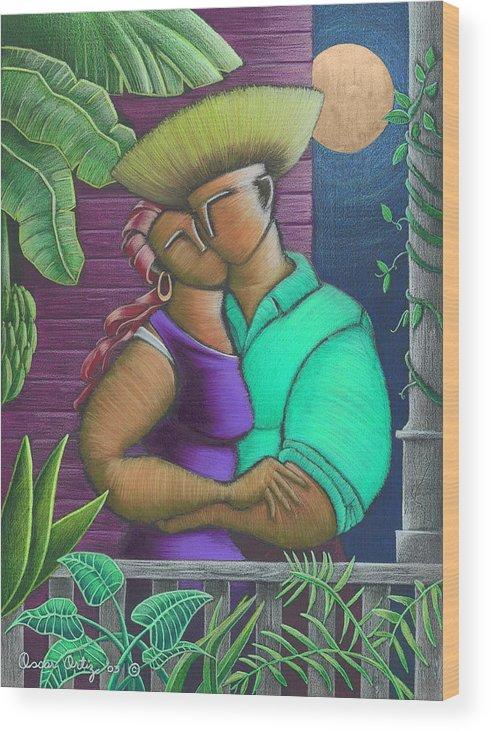 Puerto Rico Wood Print featuring the painting Romance Jibaro by Oscar Ortiz