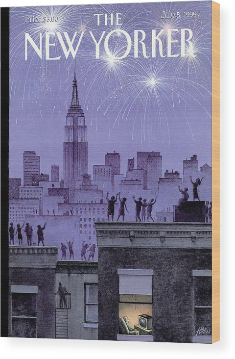 Harry Bliss Hbl Wood Print featuring the painting Rooftop Revelers Celebrate New Year's Eve by Harry Bliss