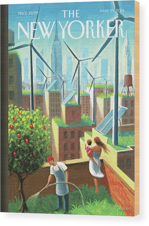 New York City Wood Print featuring the painting A Bright Future by Eric Drooker