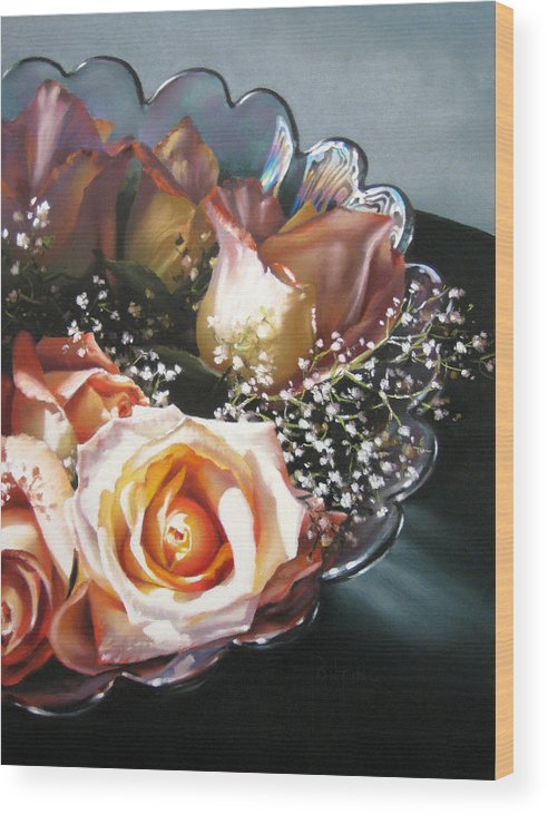 Still Life Wood Print featuring the painting Rose Bowl by Dianna Ponting