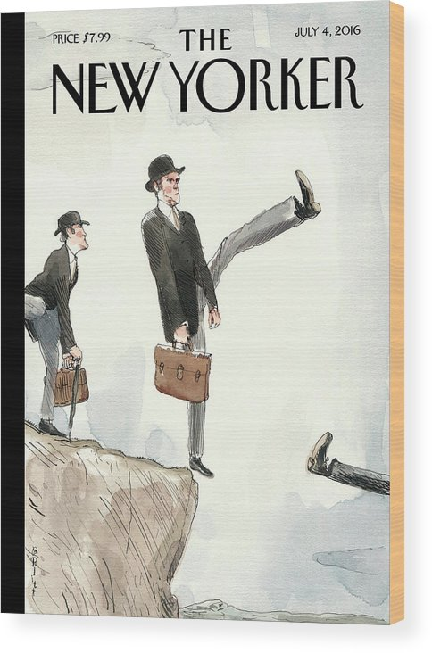 Silly Walk Off A Cliff Wood Print featuring the painting Silly Walk Off A Cliff by Barry Blitt