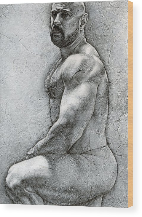 Male Wood Print featuring the drawing Simplicity 5 by Chris Lopez